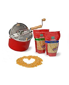 Wabash Valley Farms Red Whirley-Pop Popcorn Popper Set