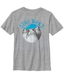 Star Wars Big Boy's Last Jedi Porgs Color Pop Cute Badge Short Sleeve T-Shirt