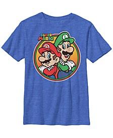Nintendo Big Boy's Super Mario Luigi Brothers Circle Short Sleeve T-Shirt
