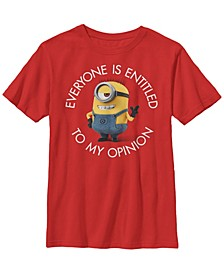 Despicable Me Big Boy's Minions Stuart's Opinion Short Sleeve T-Shirt