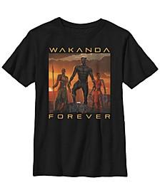 Marvel Big Boy's Black Panther Movie Wakanda Forever Short Sleeve T-Shirt