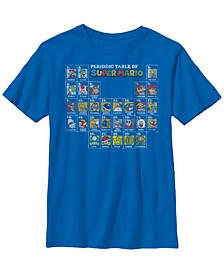 Nintendo Big Boy's Super Mario Periodic Table of Character Panel Grid Short Sleeve T-Shirt