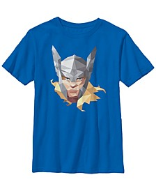 Marvel Big Boy's Thor The Mighty Big Face Geometric Prism Short Sleeve T-Shirt