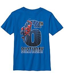 Marvel Big Boy's Spider-Man Swinging 6Th Birthday Short Sleeve T-Shirt
