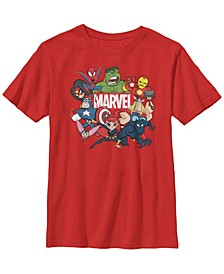 Marvel Big Boy's Avengers Cartoon Action Collage Group Shot Short Sleeve T-Shirt