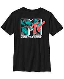 Mtv Big Boys Tropical Neon Turquoise Leaves Logo Short Sleeve T-Shirt