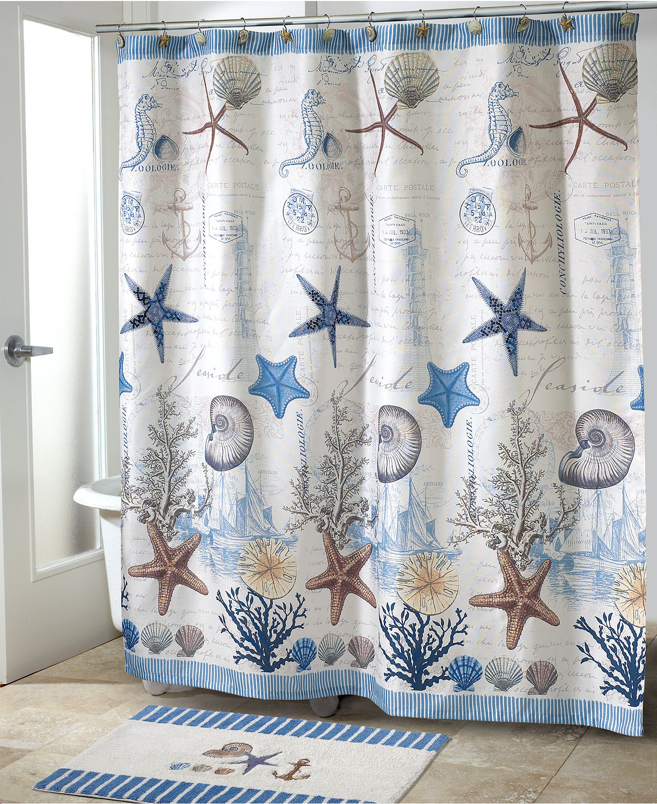 Mint green shower curtain and rugs - Avanti Bath Antigua Collection
