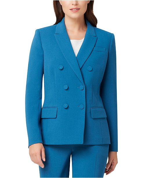 Tahari ASL Crepe Double-Breasted Blazer