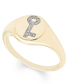 Diamond (1/20 ct. t.w.) Key Signet Ring in 14k Yellow or Rose Gold