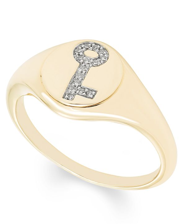 Macy's Diamond (1/20 ct. t.w.) Key Signet Ring in 14k Yellow or Rose Gold