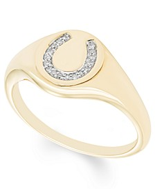 Diamond (1/20 ct. t.w.)  Horseshoe Signet Ring in 14k Yellow or Rose Gold