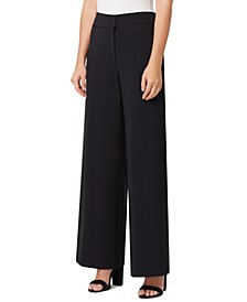 Crepe Wide-Leg Dress Pants