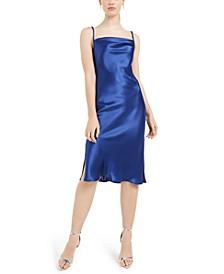 Cowlneck Satin Slip Dress
