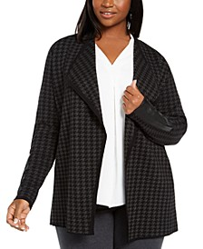 Plus Size Faux-Leather-Trim Cardigan