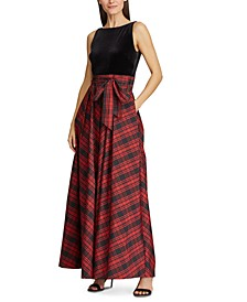 Velvet-Bodice Plaid Gown