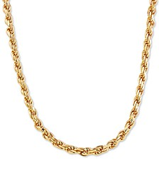 "Rope Link 24"" Chain Necklace in 18k Gold-Plated Sterling Silver"