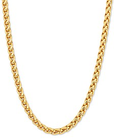 """Wheat Link 24"""" Chain Necklace in 18k Gold-Plated Sterling Silver"""