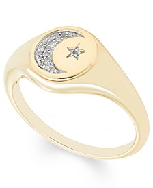 Diamond (1/20 ct. t.w.) Celestial  Signet Ring in 14k Yellow or Rose Gold