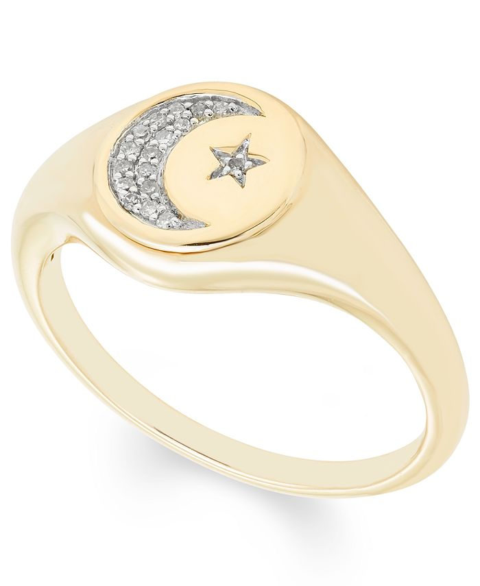 Macy's - Diamond (1/20 ct. t.w.) Celestial  Signet Ring in 14k Yellow or Rose Gold