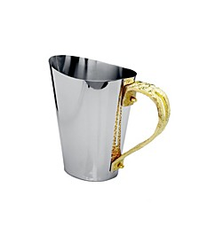 Stainless Steel Water Pitcher with Gold-Tone Loop Handle
