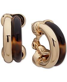 "Gold-Tone Small Tortoise-Look Clip-On Hoop Earrings, 1"""