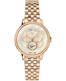 Women's Swiss Seed Of Life Diamond (5/8 ct. t.w.) Rose Gold-Tone Stainless Steel Bracelet Watch 36mm