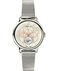 Women's Swiss Seed Of Life Stainless Steel Mesh Bracelet Watch 36mm