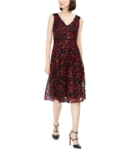 Taylor Floral-Embroidered Midi Dress