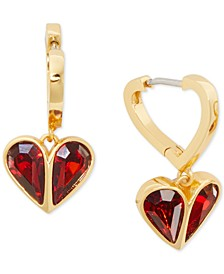 Gold-Tone Crystal Heart Drop Earrings