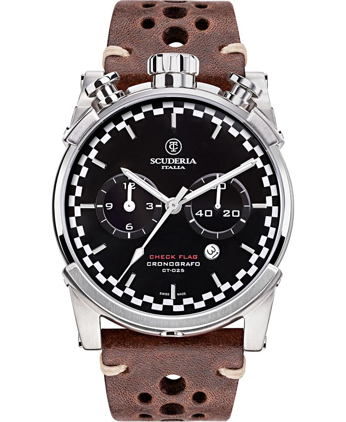 CT Scuderia - Men's Swiss Chronograph Check Flag Brown Leather Strap Watch 44mm