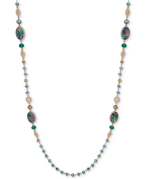 """lonna & lilly Gold-Tone Blue-Green Bead Long 42"""" Strand Necklace"""