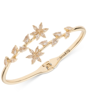 Gold-Tone Crystal Hinge Open Bypass Bracelet