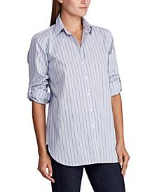 Pinstripe Roll-Tab Shirt