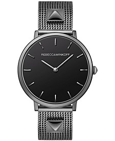 Women's Major Gunmetal Gray Stainless Steel Mesh Bracelet Watch 35mm