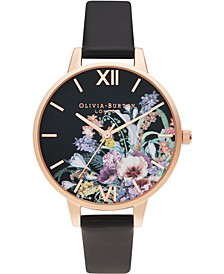 Women's Enchanted Garden Black Vegan Leather Strap Watch, 34mm