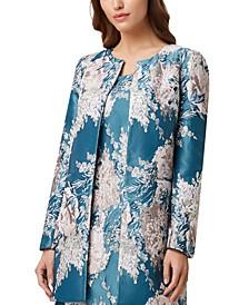 Floral-Jacquard Topper Jacket
