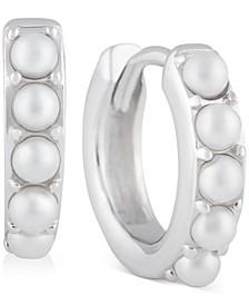 Imitation Pearl Huggie Hoop Earrings