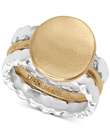 Two-Tone 3-Pc. Set Scalloped Stackable Rings