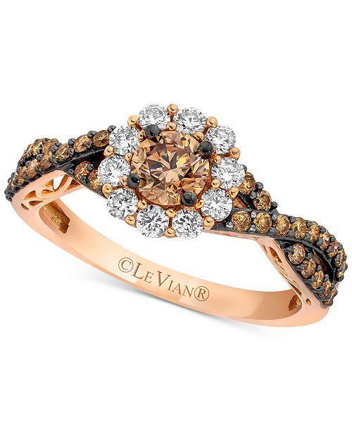 Le Vian Chocolatier® Diamond Halo Twist Ring (1-1/20 ct. t.w.) in 14k Rose Gold