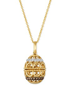 "Chocolatier® Diamond Egg 18"" Pendant Necklace (1/4 ct. t.w.) in 14k Gold"