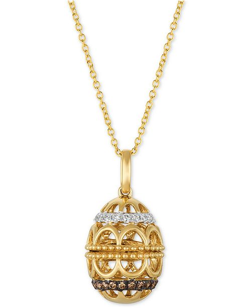 "Le Vian Chocolatier® Diamond Egg 18"" Pendant Necklace (1/4 ct. t.w.) in 14k Gold"