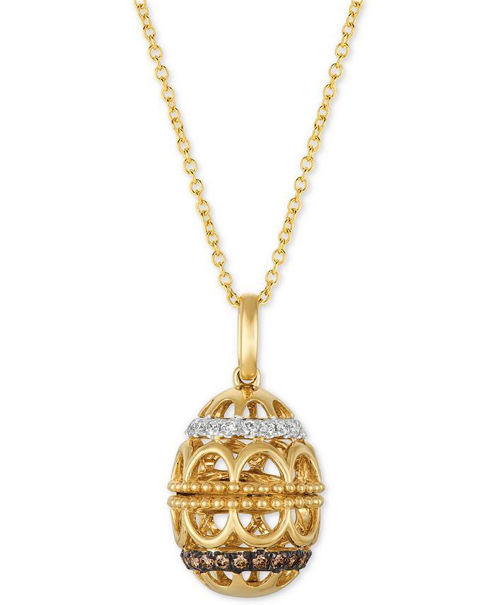 "Le Vian - Diamond Egg 18"" Pendant Necklace (1/4 ct. t.w.) in 14k Gold"