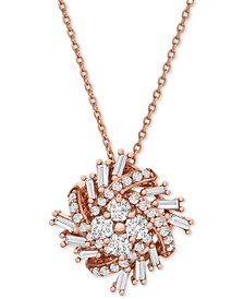 "Diamond Baguette Cluster 18"" Pendant Necklace (1/2 ct. t.w.) in 10k Rose Gold"