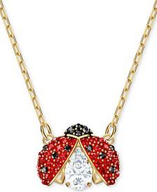 "Gold-Tone Multicolor Crystal Ladybug Pendant Necklace, 14-7/8"" + 2"" extender"
