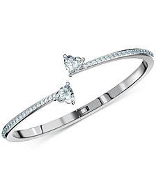 Swarovski Silver-Tone Crystal Heart Bangle Bracelet