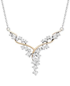 "Diamond Fancy Scatter-Look Cluster 18"" Necklace (1 ct. t.w.) in 14k Gold & White Gold"