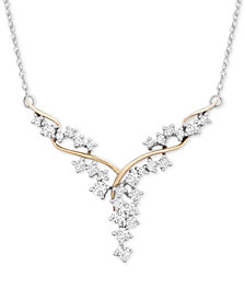 """Diamond Fancy Scatter-Look Cluster 18"""" Necklace (1 ct. t.w.) in 14k Gold & White Gold"""