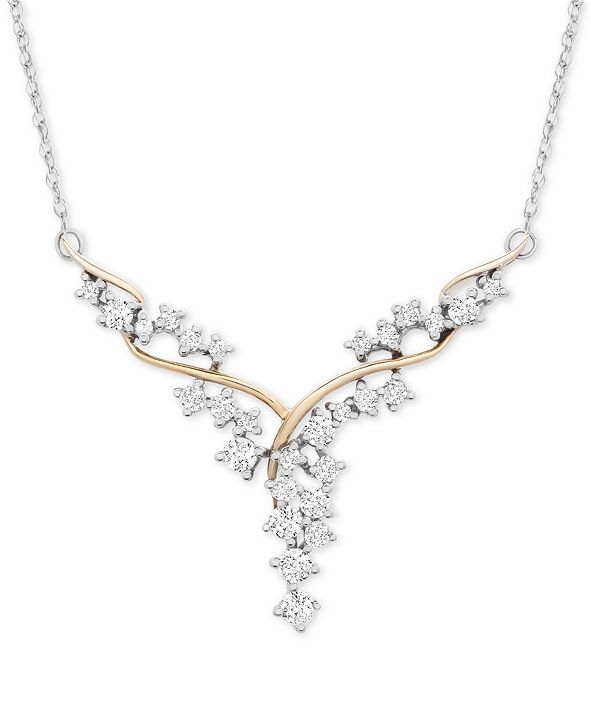 """Macy's Diamond Fancy Scatter-Look Cluster 18"""" Necklace (1 ct. t.w.) in 14k Gold & White Gold"""