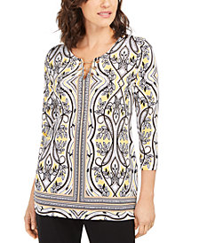 JM Collection Printed Embellished Hardware Tunic, Created for Macy's