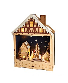13.5-Inch Battery-Operated Wooden Musical LED House